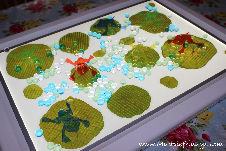 Light table frog small world play sensory water beads