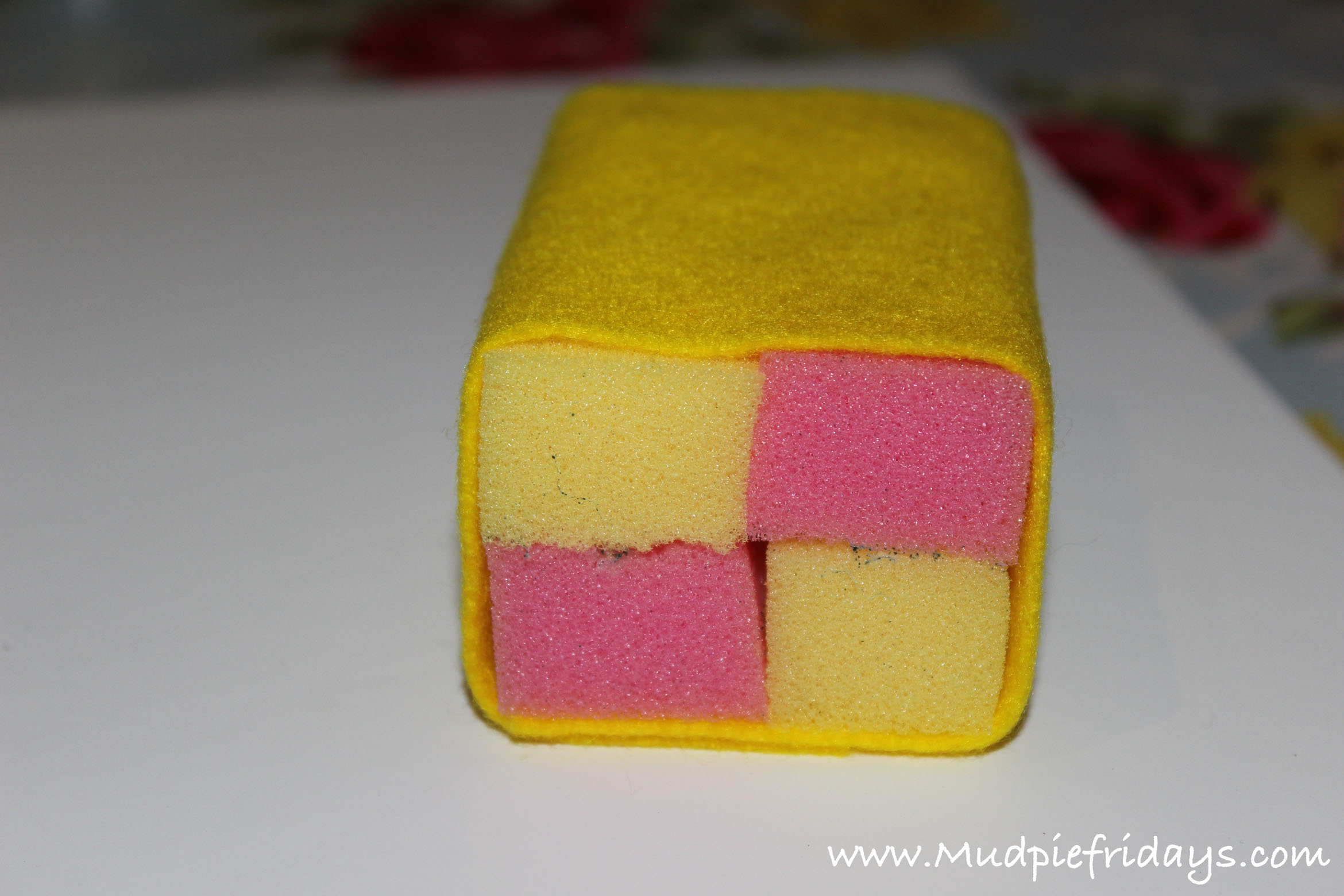 DIY playfood sponge battenberg cake