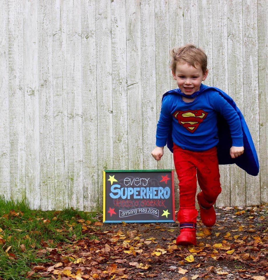 Every Superhero needs a Sidekick pregnancy announcement