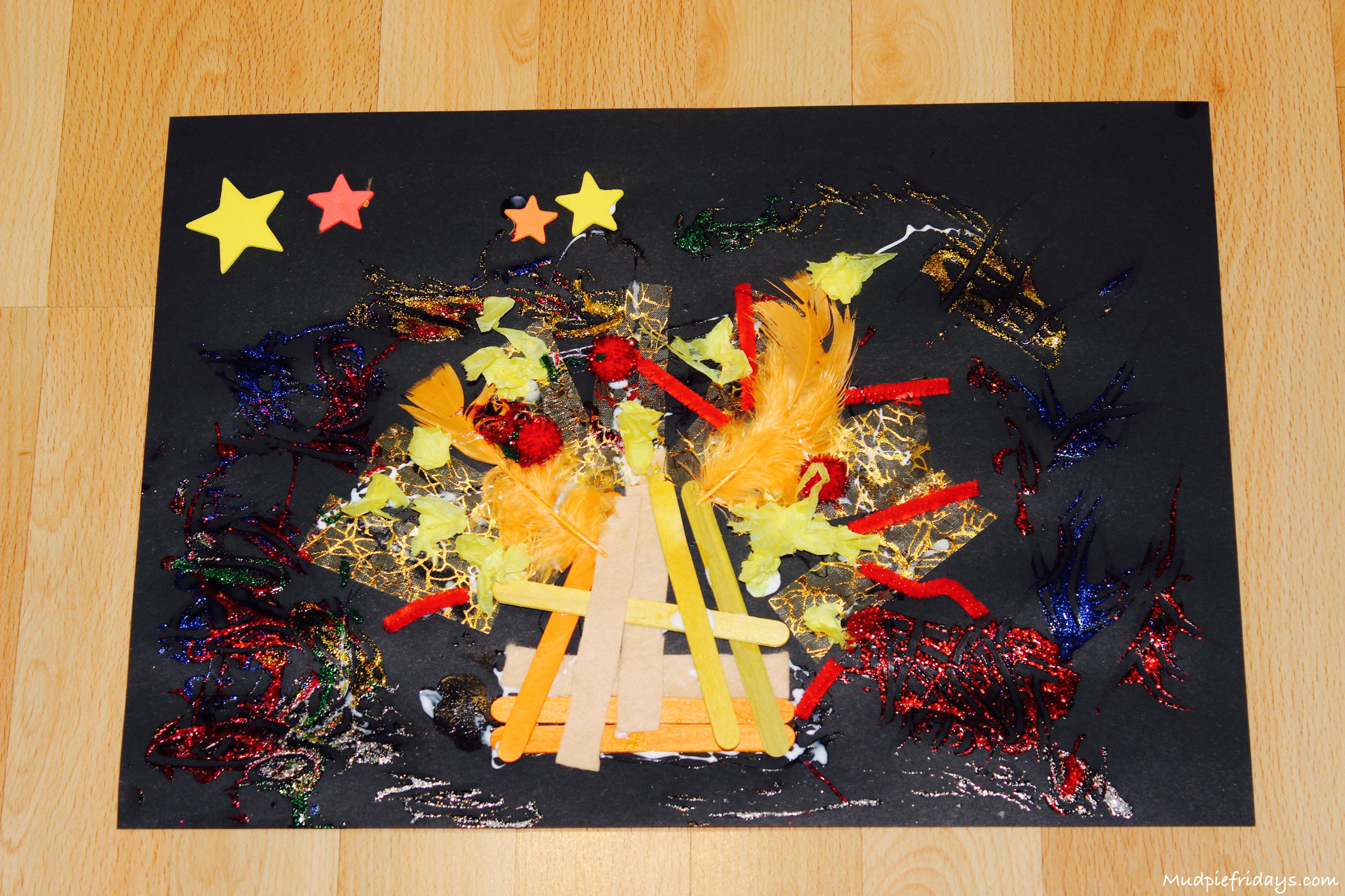 bonfire night craft ideas bonfire collage amp hanging rockets mudpiefridays 3462