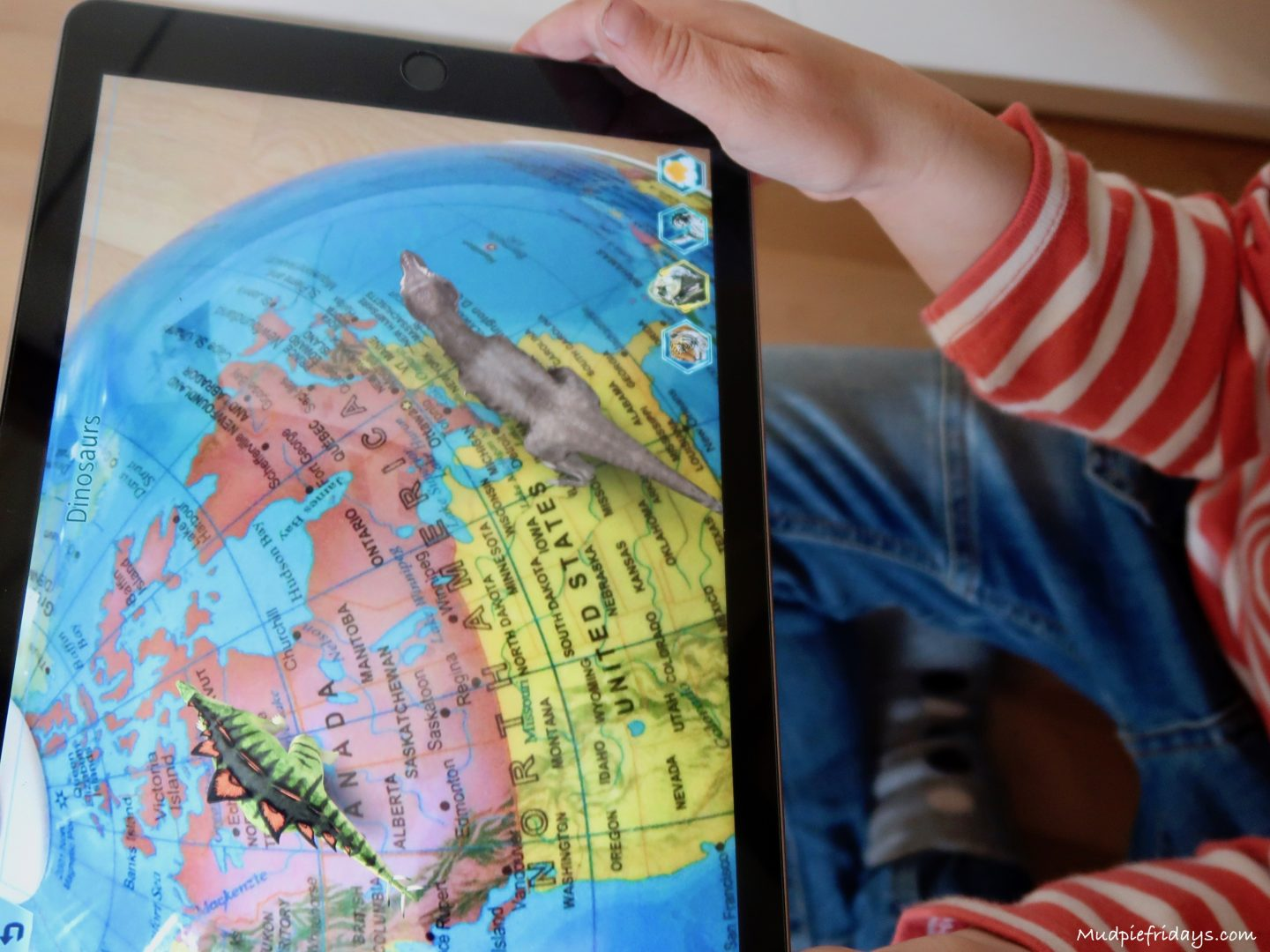 Oregon scientific ar day night globe review the app allows you to unlock augmented reality content all monkey needs to do is select the options he would like and run the ipad across the globe gumiabroncs Choice Image