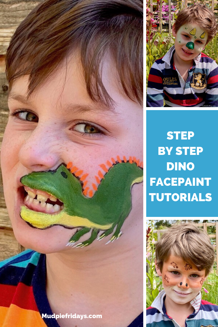 Gigantosaurus step by step face paint tutorial