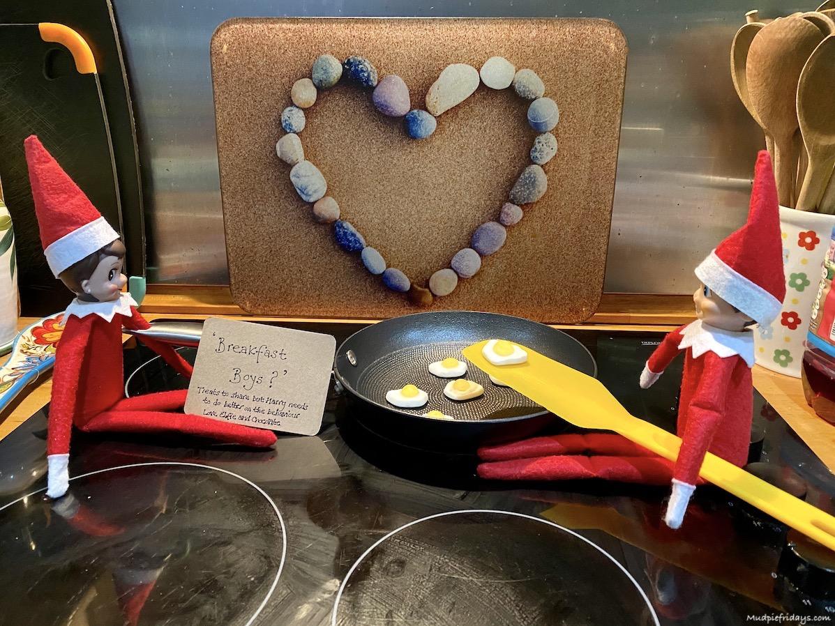 Elf on the Shelf Idea frying eggs